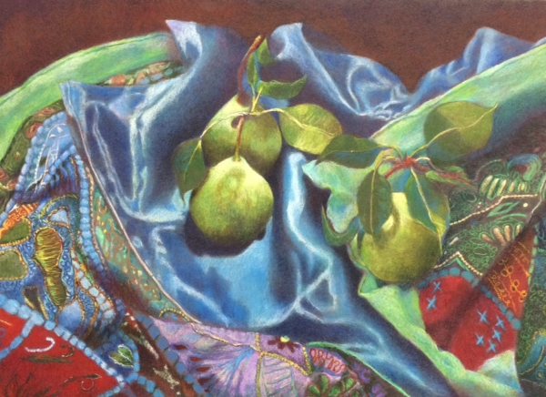 Pears on Quilt, 22.5x29 Framed, Colored Pencil, $1625